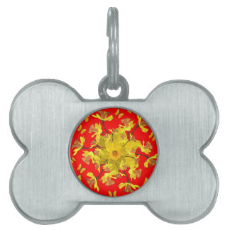 Golden Daffodils Butterfly Red Art Design Pet Name Tag