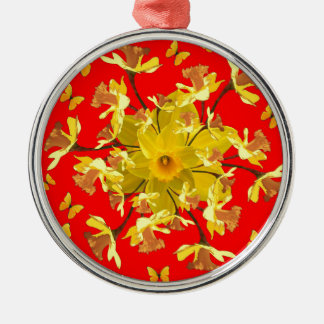 Golden Daffodils Butterfly Red Art Design Silver-Colored Round Decoration