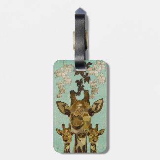 Golden Damask  Giraffes  Luggage Tag