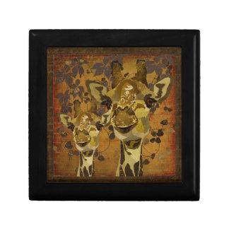 Golden Damask Giraffes Vines Gift Box