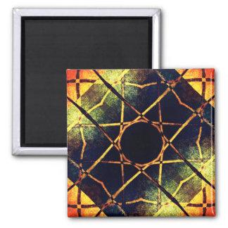 Golden Darkness Mandala Square Magnet