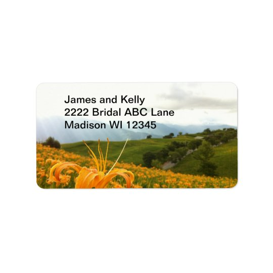 Golden Daylily flower Valley Address Label