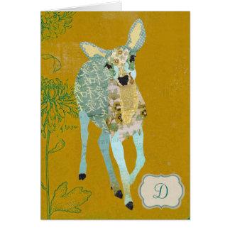 Golden Dearest Deer Monogram Notecard Greeting Cards