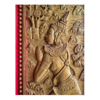 Golden Decorated Door Art at Buddhist Temple, Laos Postcard