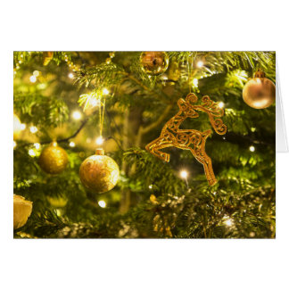 Golden Decorations Christmas Holiday Greeting Card