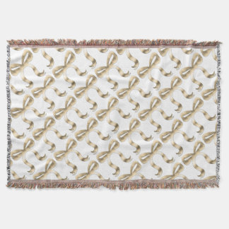 Golden decorative metal bow for home throw blanket