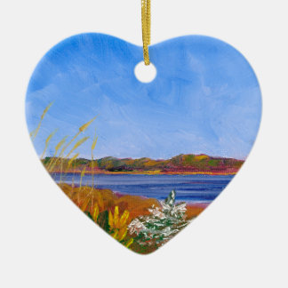 Golden Delaware River Ceramic Ornament