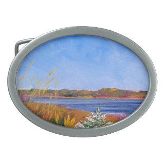 Golden Delaware River Oval Belt Buckle