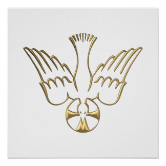 Golden Descent of The Holy Spirit Symbol Poster