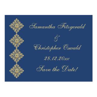 Golden Diamond Damask Blue Save the Date Postcard