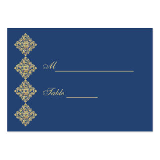 Golden Diamond Damask Blue Table Place Setting Pack Of Chubby Business Cards