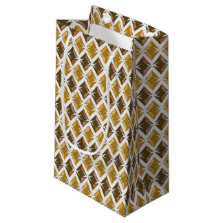 Golden Diamonds Graphical Gems Pattern Small Gift Bag