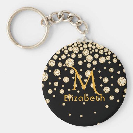 Golden diamonds on black monogrammed key ring