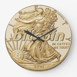 Golden Dollar Bitcoin Cryptocurrency HODL Funny Large Clock