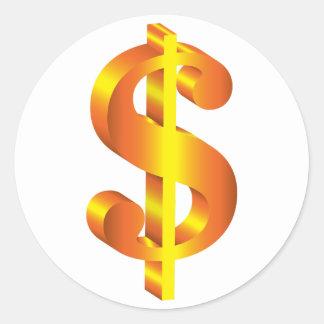 Golden Dollar Sign Classic Round Sticker