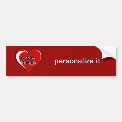 Golden Doodle on Heart for dog lovers Bumper Stickers