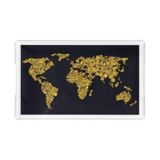 Golden Dot World Map Acrylic Tray