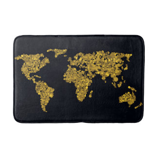Golden Dot World Map Bath Mats