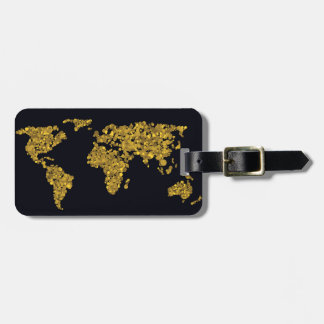 Golden Dot World Map Luggage Tag