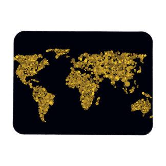 Golden Dot World Map Magnet