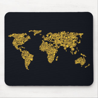 Golden Dot World Map Mouse Pad
