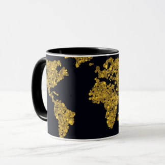 Golden Dot World Map Mug
