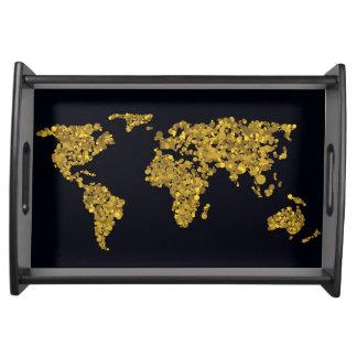 Golden Dot World Map Serving Tray
