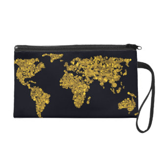 Golden Dot World Map Wristlet