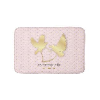Golden Doves with a Golden Heart, Gentle Love Bath Mat