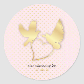 Golden Doves with a Golden Heart, Gentle Love Classic Round Sticker