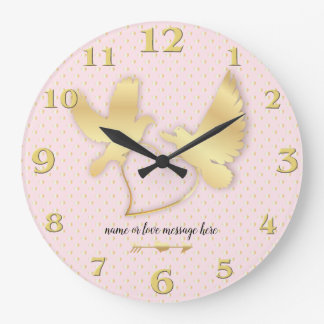 Golden Doves with a Golden Heart, Gentle Love Large Clock