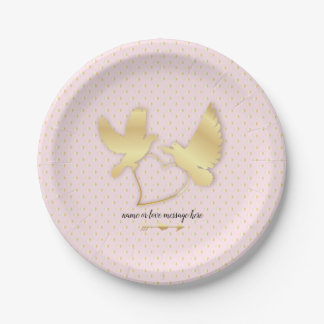 Golden Doves with a Golden Heart, Gentle Love Paper Plate