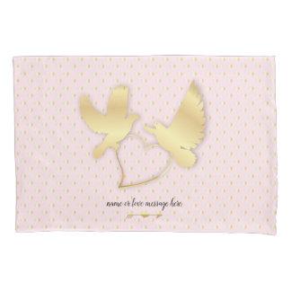 Golden Doves with a Golden Heart, Gentle Love Pillowcase