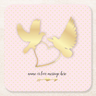 Golden Doves with a Golden Heart, Gentle Love Square Paper Coaster