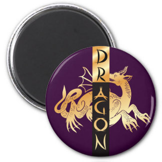 Golden Dragon and Banner 6 Cm Round Magnet