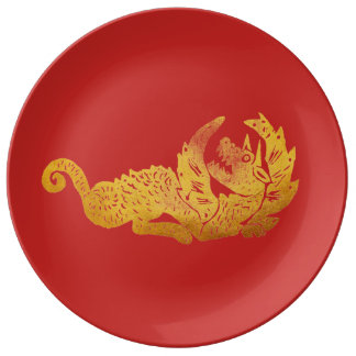 Golden dragon  Decorative Porcelain Plate