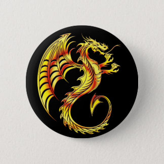 Golden Dragon Symbol 6 Cm Round Badge