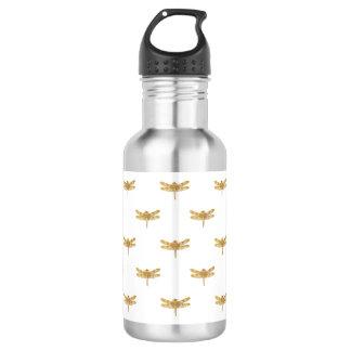 Golden Dragonfly Repeat Gold Metallic Foil 532 Ml Water Bottle