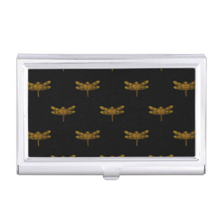 Golden Dragonfly Repeat Gold Metallic Foil Business Card Holder