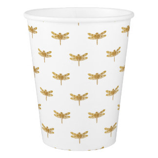 Golden Dragonfly Repeat Gold Metallic Foil Paper Cup
