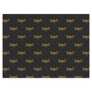 Golden Dragonfly Repeat Gold Metallic Foil Tissue Paper