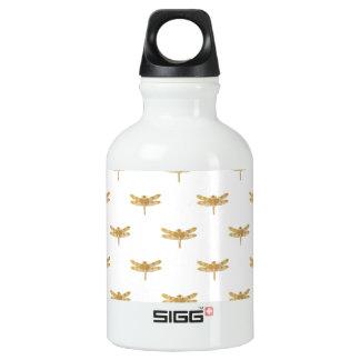 Golden Dragonfly Repeat Gold Metallic Foil Water Bottle
