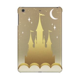 Golden Dreamy Castle In The Clouds Starry Moon Sky