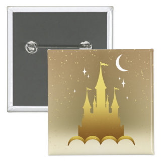 Golden Dreamy Castle In The Clouds Starry Moon Sky Pinback Button
