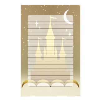 Golden Dreamy Castle In The Clouds Starry Moon Sky Customised Stationery