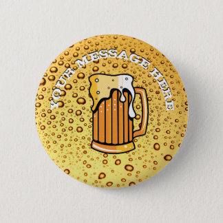 Golden drops and beer glass 6 cm round badge