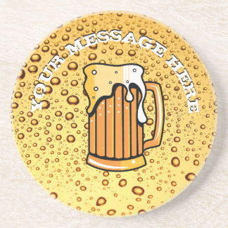 Golden drops and beer glass coaster