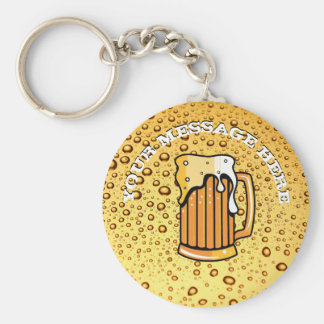 Golden drops and beer glass key ring