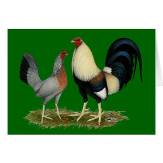 Golden Duckwing Chickens Card