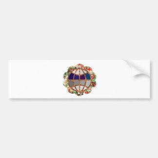 Golden EARTH - Globe Beads Jewels Border Bumper Sticker